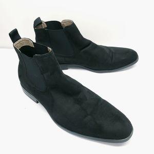 H&M black faux suede mens Sz 12 chelsea boots